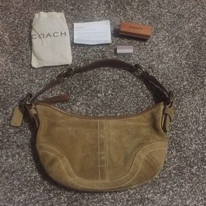 Authentic Coach Suede bag w/care kit